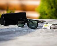 Мужские солнцезащитные очки Лакост матовые черные (реплика)