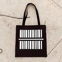 Шоппер чёрный  бренд ТУР модель ШтрихКод Экосумка с принтом из ткания черная