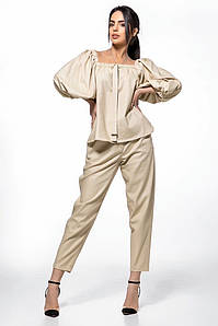 Льняной женский брючный костюм с пышными рукавами