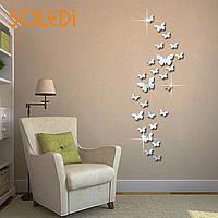 Декоративные зеркальные наклейки на стену «Бабочки» 25 шт. Интерьерные декор-наклейки Хром.