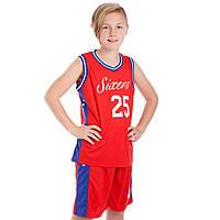 Форма баскетбольная подростковая NB-Sport NBA SIXERS 25 BA-0904 (PL, р-р M-2XL-130-165см, красный-синий)