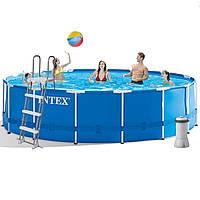 Каркасный бассейн Intex 28242 457 x 122 см (3 785 л/ч, лестница, тент, подстилка) KK