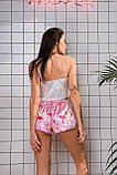 Шелковая пижама Фламинго Топ на бретелях белый ( регулируются) и шортики розового цвета Шелк Армани, фото 3