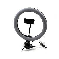 Кольцевая LED лампа USB для селфи со штативом Белая