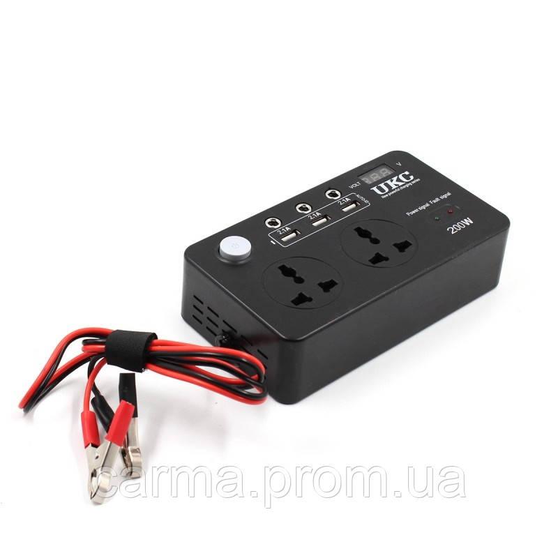 Автомобильный преобразователь AC/DC 200W 12V LCD/USB Черный