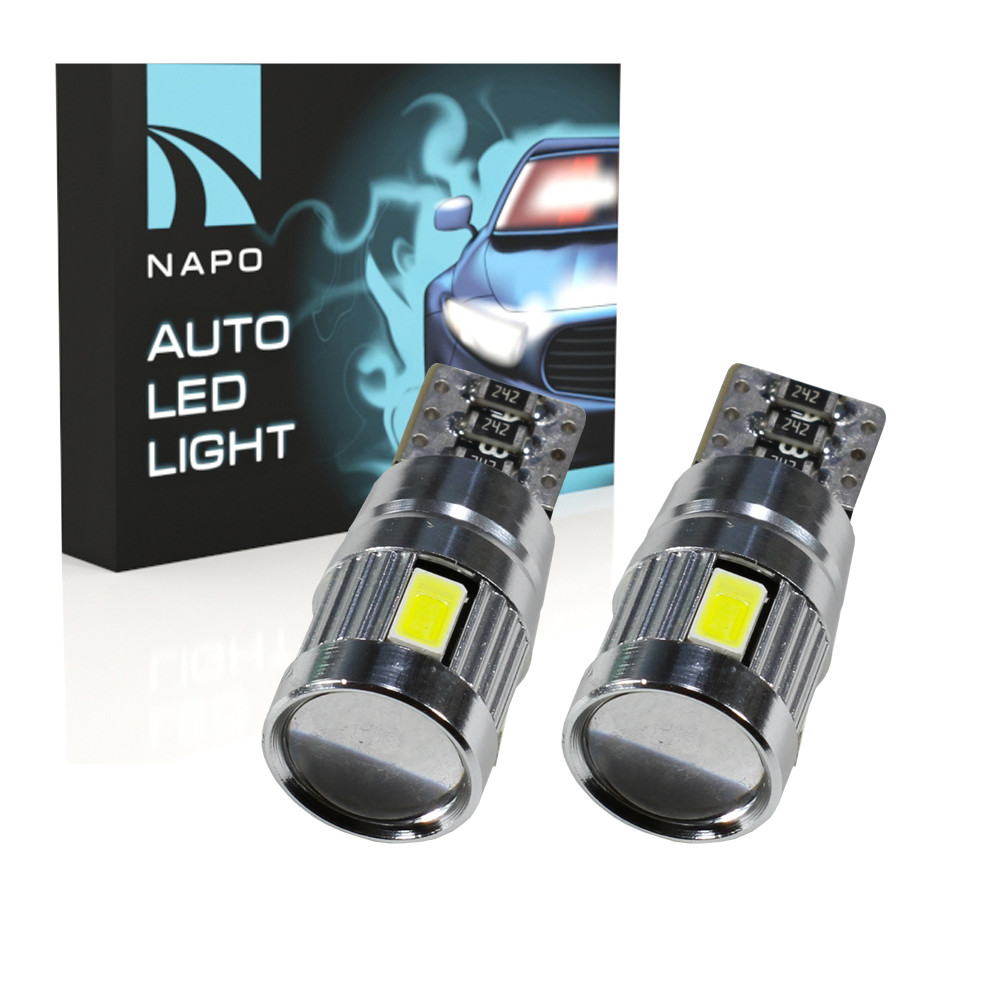 Лампа автомобильная LED T10-5630-6smd-CAN.t10-062 W5W T10 комплект 2 шт цвет свечения белый