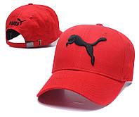 Крутая молодежная летняя красная кепка Puma с черной вышивкой (реплика)