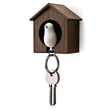 Ключница QUALY Sparrow Keyring brown-white QL10091