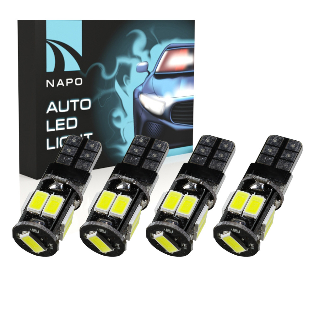 Лампа автомобильная LED T10-5630-9smd-CAN.t10-043 W5W T10 комплект 4 шт цвет свечения белый