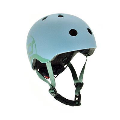 Scoot&Ride - Детский шлем с фонариком (45-51см), цвет серо-синий