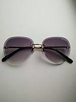 Солнцезащитные очки авиаторы женские капля черные с градиентом , Kaizi 605