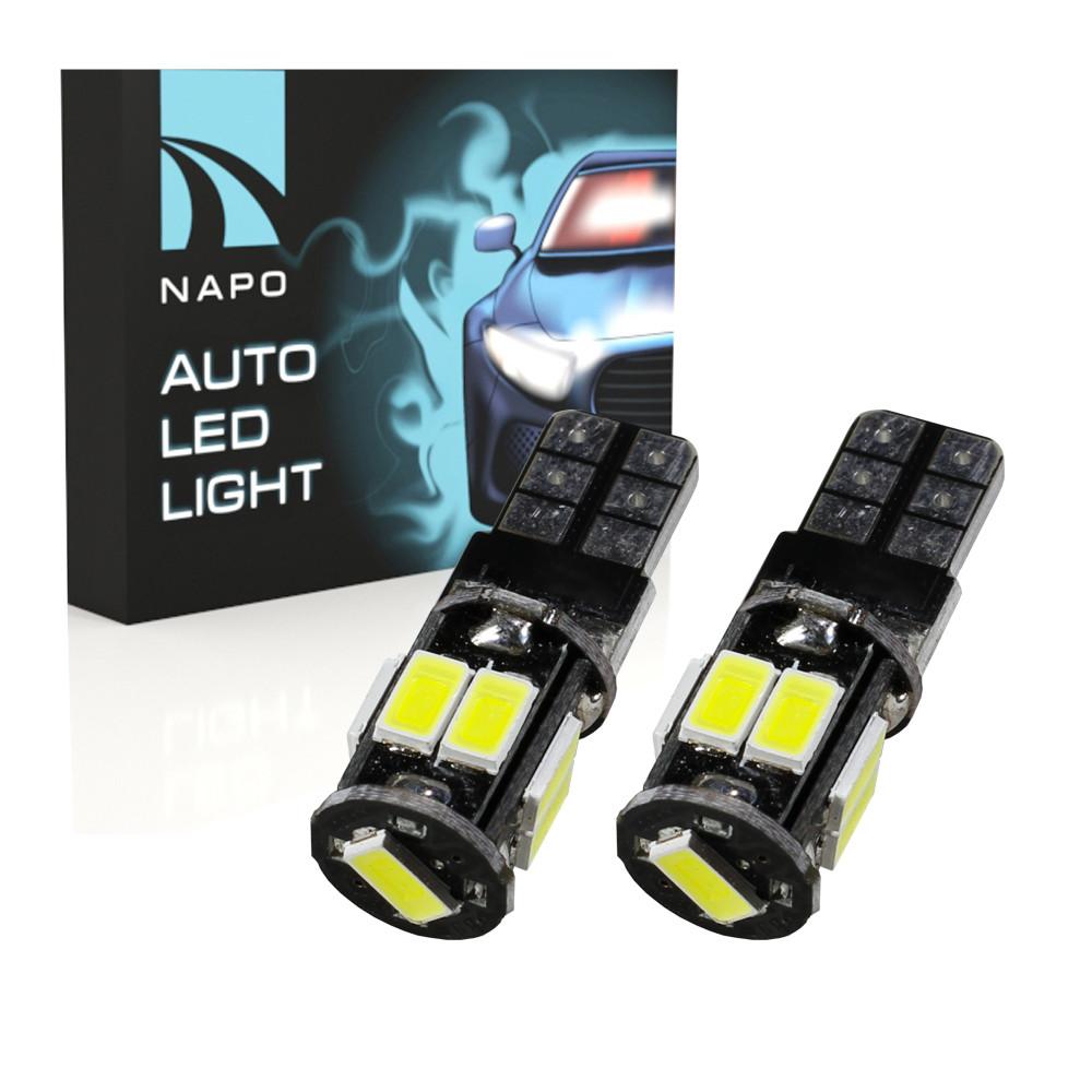 Лампа автомобильная LED T10-5630-9smd-CAN.t10-043 W5W T10 комплект 2 шт цвет свечения белый