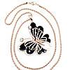 """Підвіска на ланцюжку SONATA """"Метелик"""", ювелірна емаль і білі фіаніти, позолота РВ, 42004 (1), фото 3"""