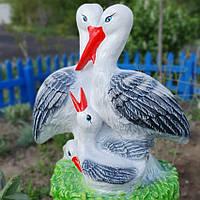 Фигурка гипсовая для сада Аисты в гнезде, 55 см