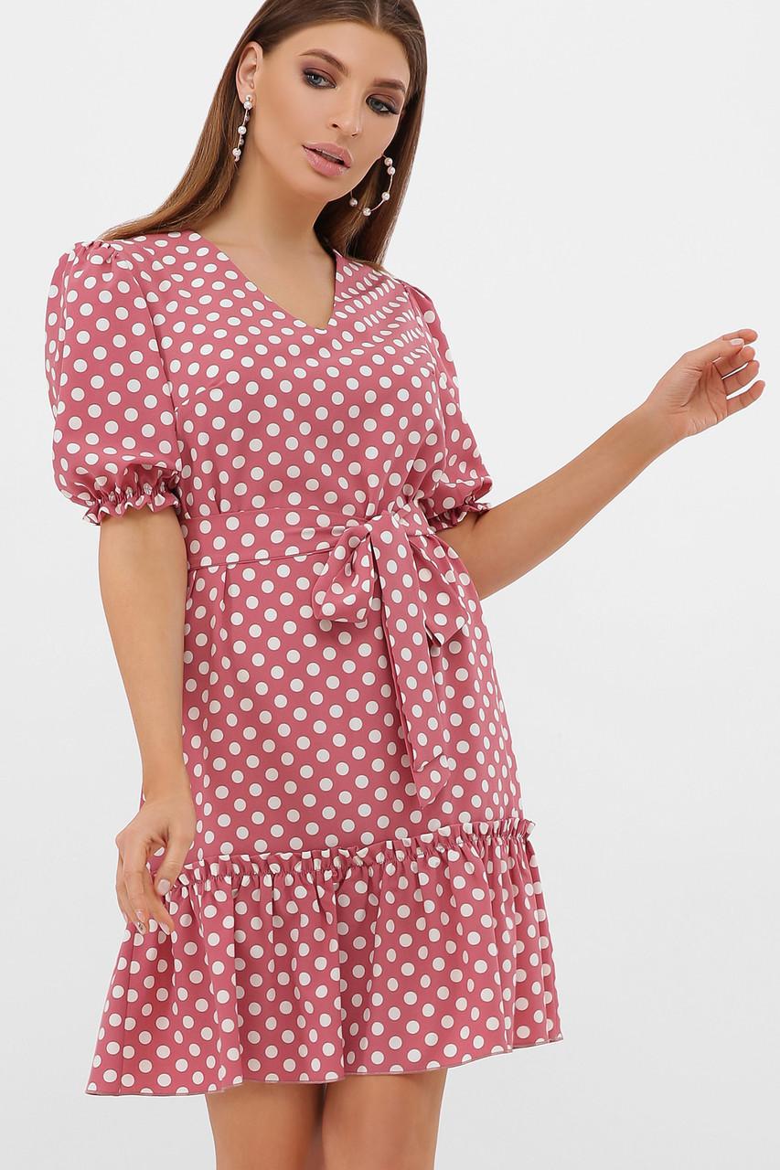 Платье розовое в белый горошек Мальвина