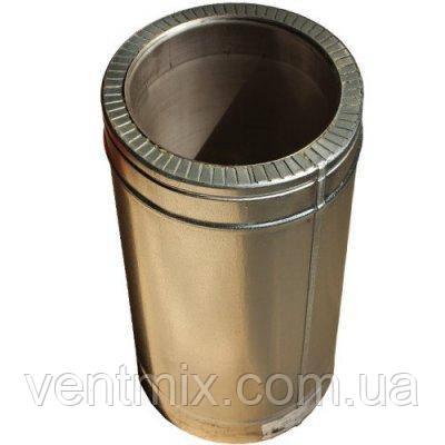 Труба утепленная d 150/220 нержавейка в оцинковке длина 1 м (толщина 0,6 мм)