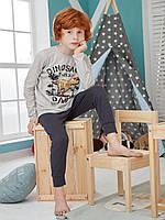 """Хлопковая пижама брюки на манжетах и кофта с рисунком """"Динозавр"""" для мальчика 10-11 лет"""