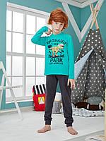 """Хлопковая пижама брюки на манжетах и кофта с рисунком """"Динозавр"""", цвет бирюзовый с темно-серым"""