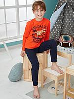 """Хлопковая пижама брюки на манжетах и кофта с рисунком """"Динозавр"""", цвет оранжевый с темно-синим"""