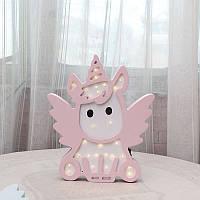 Ночник деревянный Led светильник Единорог розовый