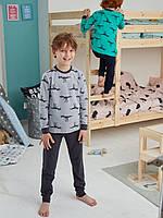 """Хлопковая пижама брюки на манжетах и кофта с рисунком """"Динозавр-тиранозавр"""" на мальчика 2-3 года"""
