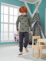 """Хлопковая пижама брюки на манжетах и кофта с рисунком """"Динозавр-тиранозавр"""""""