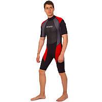Гидрокостюм для серфинга и водных лыж мужской LEGEND PL-6407 (3мм неопрен, размер XS-XXL-170-191см, вес 52-107кг, черный-красный-серый)