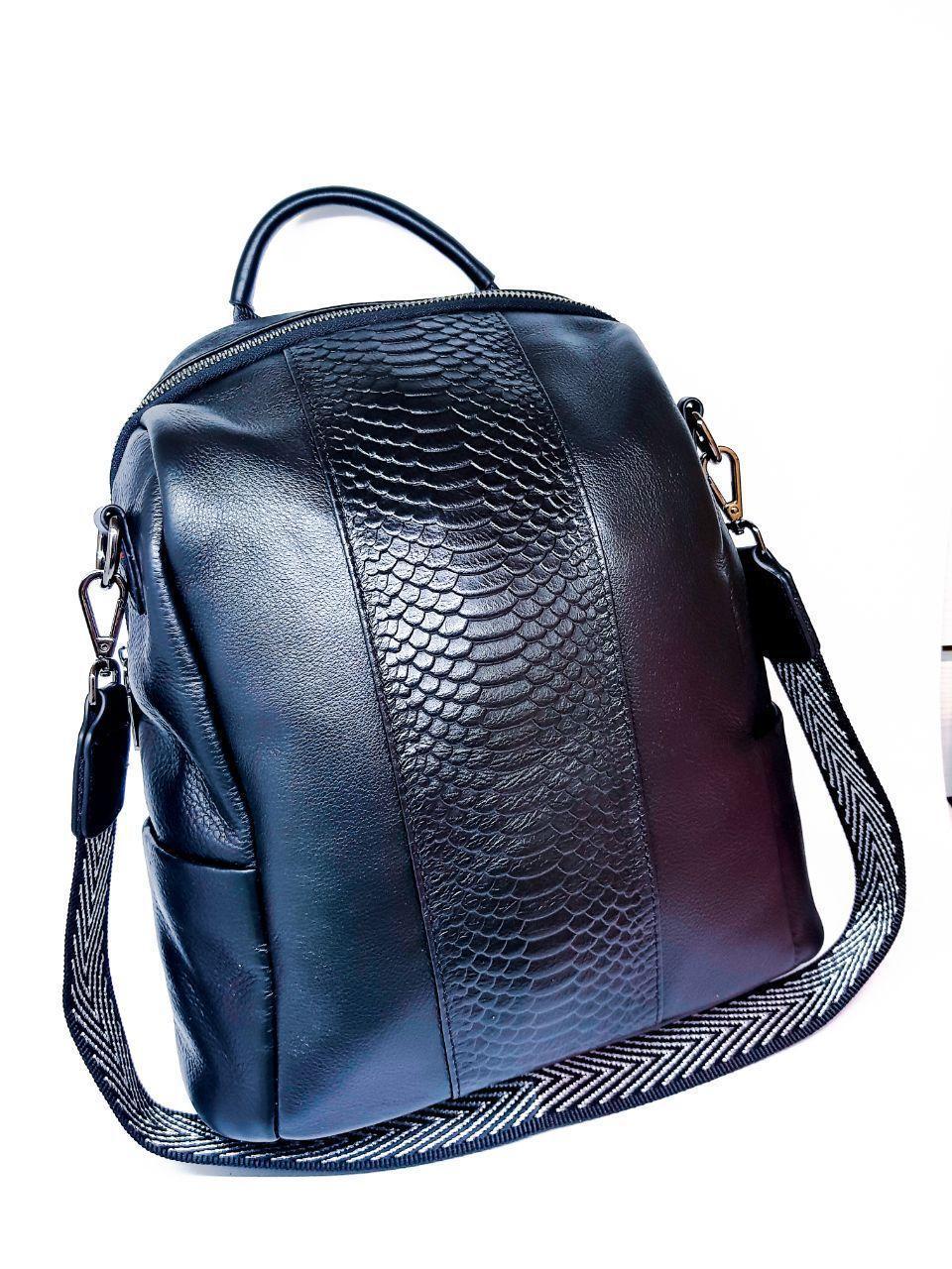 Кожаная женская сумка-рюкзак Farfalla Rosso Черный (01076)