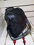 Кожаная женская сумка-рюкзак Farfalla Rosso Черный (01076), фото 5
