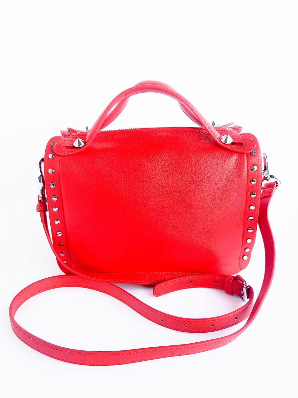 Кожаная женская сумка PolinaEiterou Красный (01117)