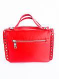 Кожаная женская сумка PolinaEiterou Красный (01117), фото 2