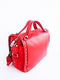 Кожаная женская сумка PolinaEiterou Красный (01117), фото 3