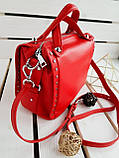 Кожаная женская сумка PolinaEiterou Красный (01117), фото 4