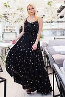 Красивое женское платье в пол под пояс с воланами 42-46