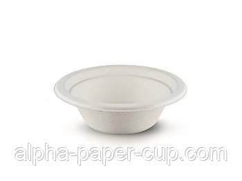 Тарелка d142 бумажная круглая глубокая белая, 600 мл прессованный картон, 25 шт/уп, 30 уп/ящ.