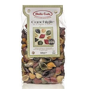 Макарони DALLA COSTA Conchiglie 5 colors шпинат, буряк, куркума, морква 500 г 12 шт/ящ 8003