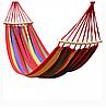 Тканинний гамак з дерев'яною поперечиною підвісний 2х0,8м тканинний з поперечиною для туризму і дачі (Г444)
