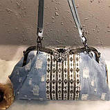 Сумка женская джинсовая со стразами. Сумочка модная из денима (голубая), фото 4