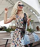 Сумка женская джинсовая со стразами. Сумочка модная из денима (голубая), фото 3