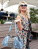 Сумка женская джинсовая со стразами. Сумочка модная из денима (голубая), фото 2
