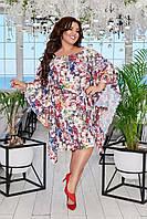 Красивое асиметричное женское платье под пояс свободного кроя 50-56, 58-60