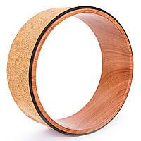 Колесо-кольцо для йоги пробковое Record Fit Wheel Yoga FI-6976 (пробковое дерево, р-р 33х13см, рыжий), фото 1