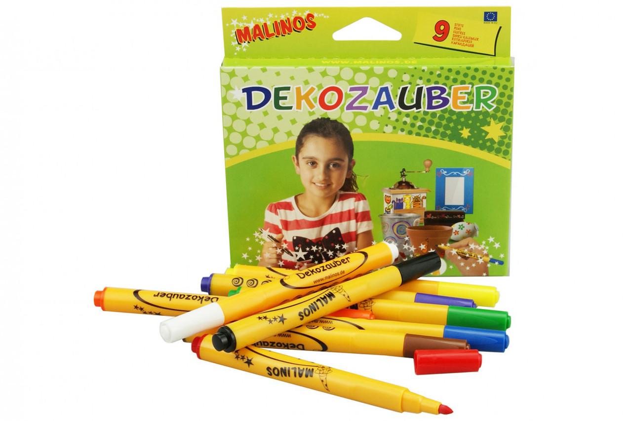 Фломастеры для декорирования MALINOS Dekozauber нестираемые 9 (8+1) шт