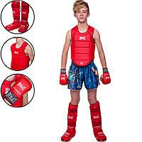 Комплект для карате детский (перчатки, защита корпуса, голени и стопы) ELS BO-3951-3956-3958 размер XXS-M-4-14лет цвета в ассортименте, фото 1