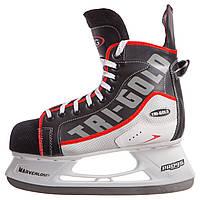 Коньки хоккейные PVC TG-H091R (р-р 36-46, лезвие-сталь, черный-белый-красный)