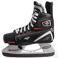 Коньки раздвижные детские хоккейные PVC TG-KH901R (32-35) (р-р 32-35, лезвие-сталь, черный-белый-красный)