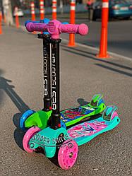Детский самокат макси Best Scooter MAXI PRINT со складной ручкой и фанариком