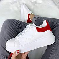 Женские белые кеды на высокой подошве с красной вставкой tez11983
