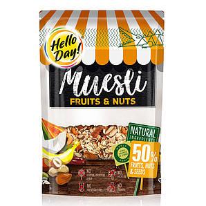 Мюслі AGUS Hello Day фрукти, насіння та горіхи 300 г 20 шт/ящ