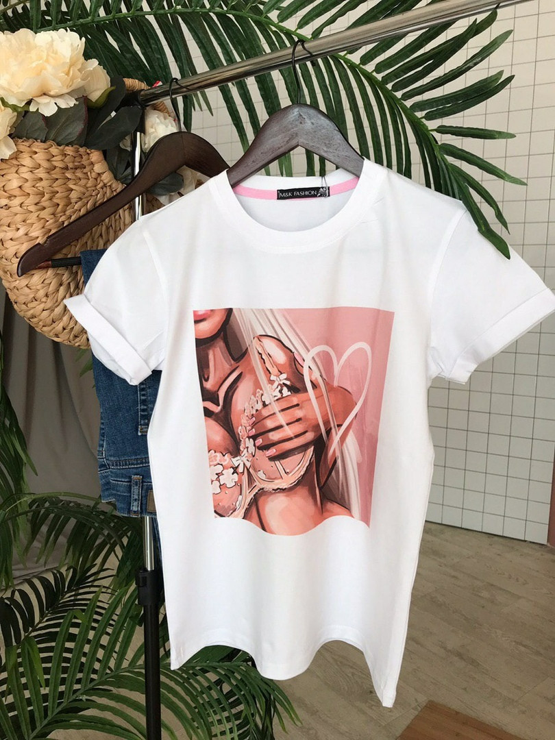 Женская футболка с разными принтами (Качество Люкс) М-3-0520